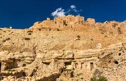Widok Chenini, warowna Berber wioska w Południowym Tunezja Fotografia Royalty Free