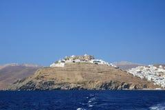 Widok Chora Astypalaia od łodzi, obrazy royalty free