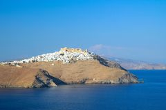 Widok Chora miasteczko w Astypalaia wyspie obrazy stock