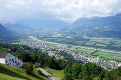 Widok cugiel dolina w Lichtenstein obraz stock