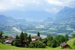 Widok cugiel dolina w Lichtenstein zdjęcie stock