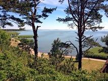 Widok Curonian laguna i mierzeja Zdjęcia Royalty Free