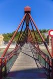 Widok czerwony footbridge w Lion z Saone rzeką, Francja Fotografia Royalty Free