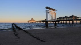 Widok Długi morze most Na Bałtyckim nadmorski zdjęcia royalty free