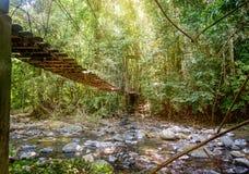 Widok długi zawieszenie most w słońce promieniach Obrazy Royalty Free