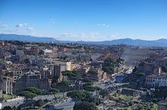 Widok dachy Rzym linia horyzontu od zabytku Vittorio Emanuele II Obrazy Royalty Free