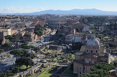 Widok dachy Rzym linia horyzontu od zabytku Vittorio Emanuele II Fotografia Stock