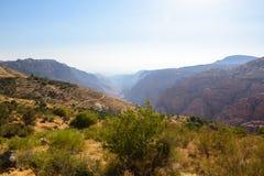 Widok Dana biosfery rezerwa, Jordania Obrazy Royalty Free