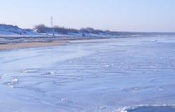 Widok denna linia brzegowa w zimie Zdjęcie Stock
