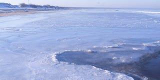 Widok denna linia brzegowa w zimie Zdjęcia Royalty Free