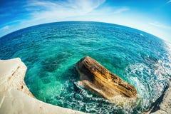 Widok denny brzeg przy ażio Georgios Alamanou Limassol Distr Fotografia Stock