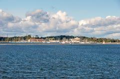 Widok dla Visla smiala z Gorki Zachodnie w tle od Sobieszewo wyspy w Gdańskim, Polana Obrazy Royalty Free