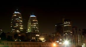 Widok Dnipro miasto przy nocą Zdjęcia Stock