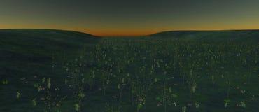 Widok dolina z swój bankami zakrywającymi z roślinami i kamieniami royalty ilustracja