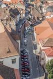Widok domowi dachy, Sibiu miasto, Rumunia, Transylvania zdjęcia stock