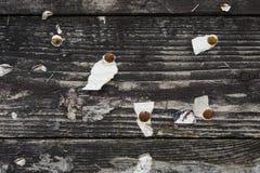 Drewniany tło z szpilkami Zdjęcie Stock
