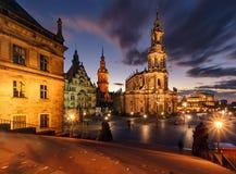 Widok Drezdeński w dramatycznym wieczór Niemcy, Saxony Fotografia Royalty Free