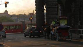 Widok drogowy skrzyżowanie z czerwonym światła ruchu, samochodami, końskim frachtem i tramwajem, zdjęcie wideo