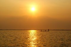 Widok duży jezioro w nakhonsawan, Thailand fotografia stock