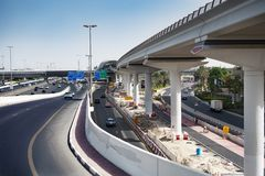 Widok Dubai infrastruktury constraction i autostrada obrazy stock