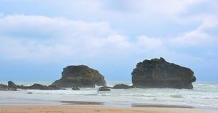 Widok dwa skały w Biarritz Zdjęcie Stock