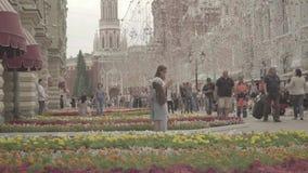 Widok dziąsło, plac czerwony, Kremlin wierza, Twierdzi Dziejowego muzeum od Nikolskaya zdjęcie wideo