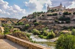 Widok dziejowy centrum w Toledo, Hiszpania Fotografia Stock