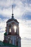 Widok dzwonkowy wierza kościół Czterdzieści męczenników na bankach jeziorny Pleshcheyevo Jesień Pereslavl-Zalessky Rosja fotografia royalty free