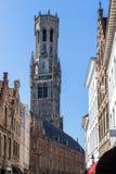 Widok dzwonnica Bruges średniowieczny dzwonkowy wierza fotografia stock