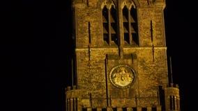 Widok dzwonnica Bruges W holendera Belfort samochodzie dostawczym Brugge jest średniowiecznym dzwonkowym wierza w centre Bruges B zdjęcie wideo