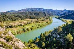 Widok Ebro rzeka od Miravet kasztelu, Hiszpania Zdjęcie Royalty Free