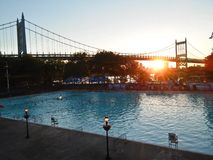 Widok Ed Koch Queensboro most od Long Island miasta parka fotografia stock