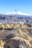 Widok Erciyes wulkan od Capadocia Zdjęcie Royalty Free