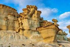 Widok erozje Bolnuevo, Las Gredas, Mazarron Murcia, Hiszpania obrazy stock