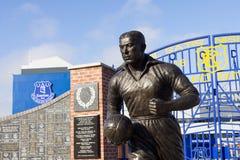 Widok Everton Footbal stadium statua Dixie Dean i, Liverpool, UK fotografia stock