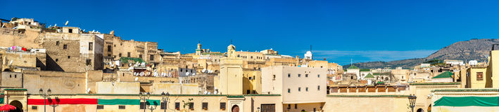 Widok Fes Medina od Rcif kwadrata, Maroko Obrazy Royalty Free