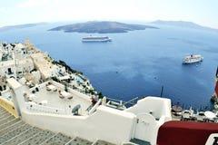 Widok Fira miasteczko. wyspa Santorin. Grecja Fotografia Stock