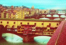 Widok Florencja na Arno rzece royalty ilustracja