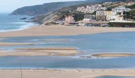 Widok Foz robi Arelho plaży Fotografia Stock