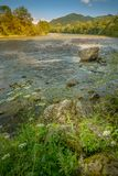 Widok górski, halna panorama, halna rzeka, wycieczka góry Obraz Royalty Free