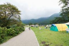 Widok górski i camping przy Jeziornym Shoji z mt fuji widok przy Zdjęcie Royalty Free