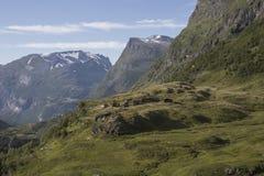 Widok górski z chałupami Obrazy Stock