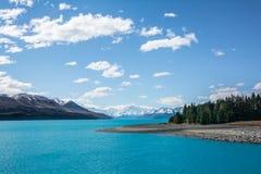 Widok góry Kucbarski i Jeziorny Pukaki, Nowa Zelandia Obrazy Royalty Free
