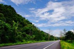 Widok góry, niebo, leje się wśród zielonych lasów Obraz Stock