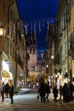 Widok główna ulica w Assisi Umbria podczas Bożenarodzeniowego czasu, wi Zdjęcia Stock
