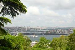 Widok Galata mostu i Halic metra most w Złotym rogu, Istanbuł cityscape obrazy stock