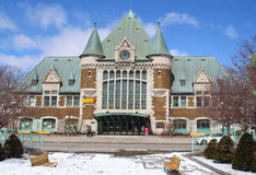 Widok Gare Du Palais, Quebec centrali dworzec Otwiera w 1915 i dziedzictwo stacja kolejowa zdjęcia royalty free