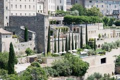 Widok Gordes, w Luberon, Provence, Francja, set film Obraz Stock