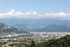 Widok Grenoble z wierzchu góry Vercors Zdjęcie Royalty Free