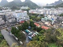 Widok Guilin miasto od Odludnego piękno szczytu Fotografia Royalty Free